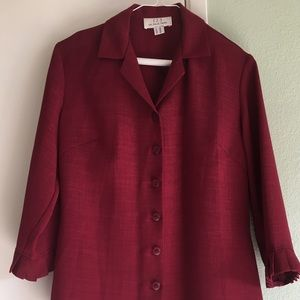 French made dark red button down shirt.